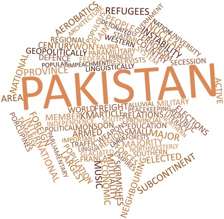 paramilitary: Abstract word cloud for Pakistan with related tags and terms Stock Photo