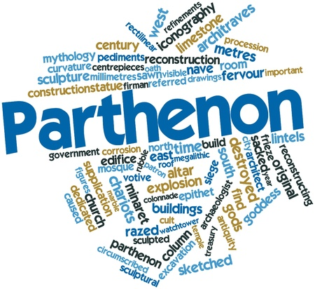 millimetres: Abstract word cloud for Parthenon with related tags and terms