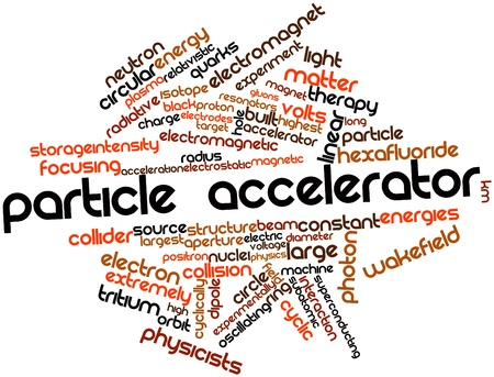 experimentally: Abstract word cloud for Particle accelerator with related tags and terms Stock Photo