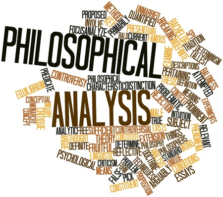 critique: Abstract word cloud for Philosophical analysis with related tags and terms Stock Photo