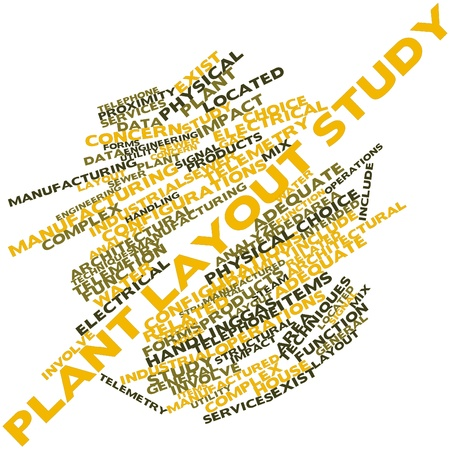 Abstract word cloud for Plant layout study with related tags and terms