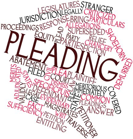 respondent: Abstract word cloud for Pleading with related tags and terms