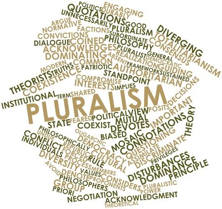priori: Word cloud astratto per il pluralismo con tag correlati e termini