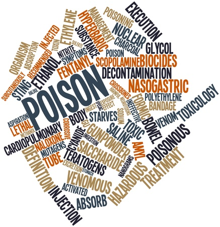 ineffective: Abstract word cloud for Poison with related tags and terms Stock Photo
