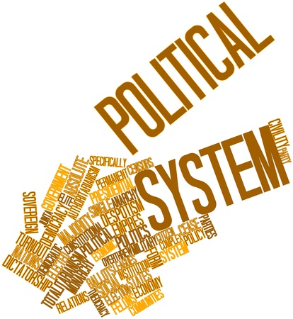 Abstract word cloud for Political system with related tags and terms photo