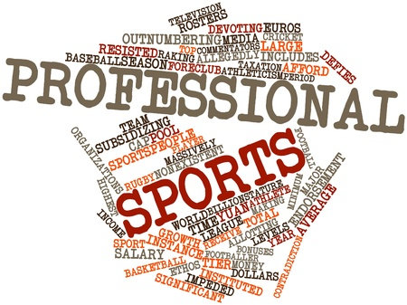 adjusted: Abstract word cloud for Professional sports with related tags and terms