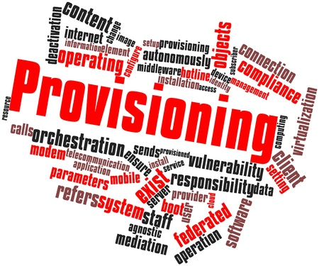 Abstract word cloud for Provisioning with related tags and terms Stock Photo - 16772947
