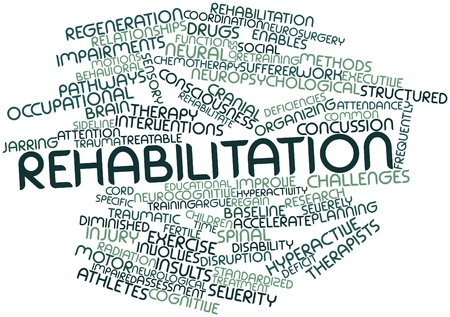 time deficit: Abstract word cloud for Rehabilitation with related tags and terms Stock Photo