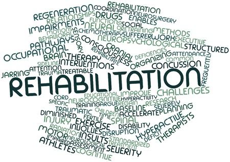 medula espinal: Nube palabra abstracta para la Rehabilitación de las etiquetas y términos relacionados