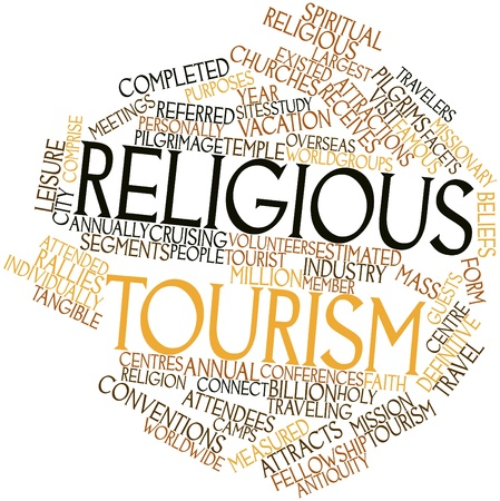 existed: Abstract word cloud for Religious tourism with related tags and terms Stock Photo