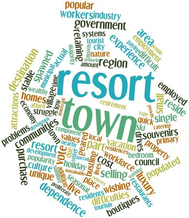 Abstract word cloud for Resort town with related tags and terms Stock Photo - 16773870