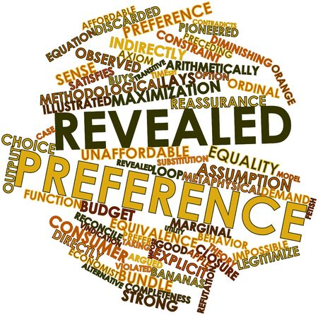 Abstract word cloud for Revealed preference with related tags and terms Stock Photo - 16774636