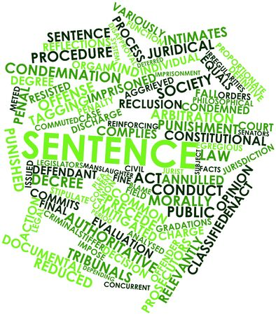 Abstract word cloud for Sentence with related tags and terms Stock Photo