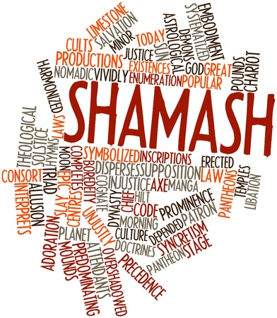 identifies: Abstract word cloud for Shamash with related tags and terms Stock Photo