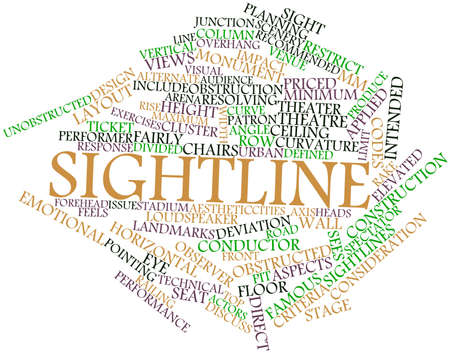 unobstructed: Abstract word cloud for Sightline with related tags and terms Stock Photo