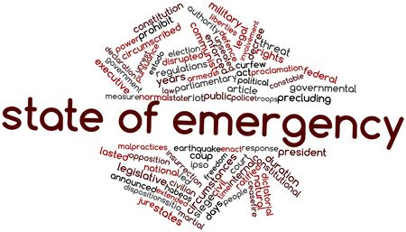 curfew: Abstract word cloud for State of emergency with related tags and terms