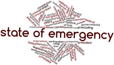 dictatorial: Word cloud astratto per lo stato di emergenza con tag correlati e termini