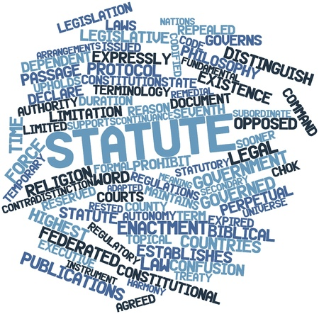 statutory: Abstract word cloud for Statute with related tags and terms
