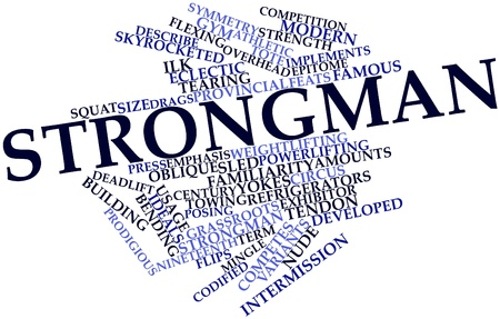 familiarity: Abstract word cloud for Strongman with related tags and terms