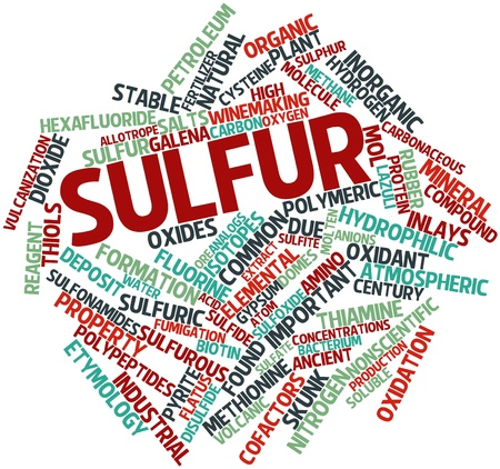 oxidant: Abstract word cloud for Sulfur with related tags and terms Stock Photo