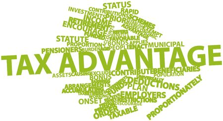 exclude: Abstract word cloud for Tax advantage with related tags and terms Stock Photo