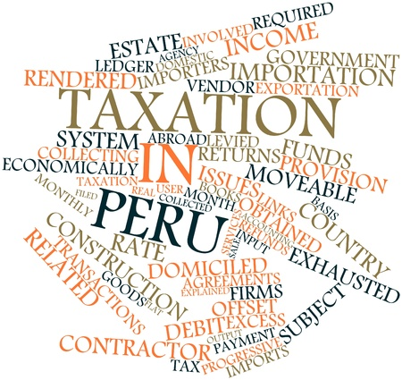 refunds: Abstract word cloud for Taxation in Peru with related tags and terms