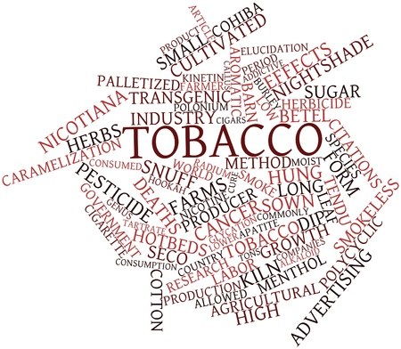 addictive: Abstract word cloud for Tobacco with related tags and terms Stock Photo