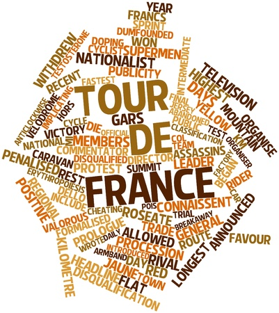 kilometre: Abstract word cloud for Tour de France with related tags and terms Stock Photo
