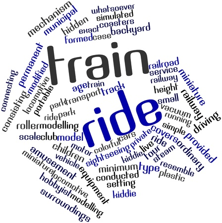 hobbyist: Abstract word cloud for Train ride with related tags and terms Stock Photo