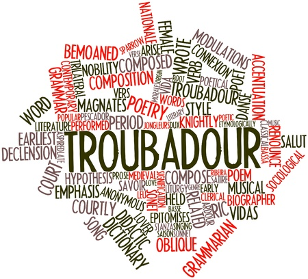 Abstract word cloud for Troubadour with related tags and terms