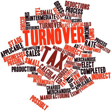 omzet: Abstract woordwolk voor de omzetbelasting met gerelateerde tags en voorwaarden