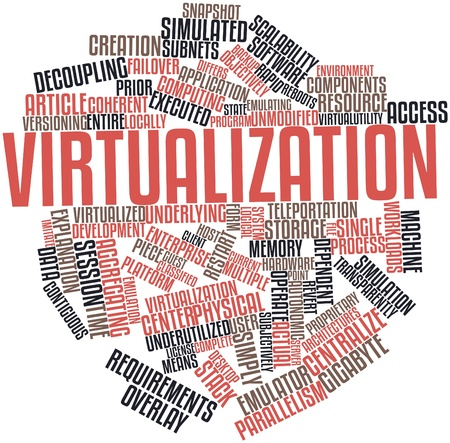 Abstract word cloud for Virtualization with related tags and terms Stockfoto