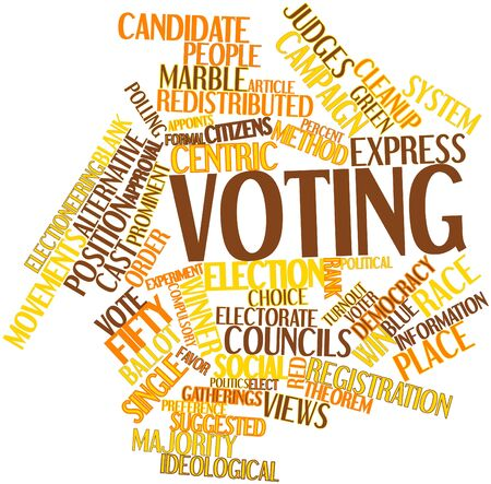 centric: Abstract word cloud for Voting with related tags and terms Stock Photo