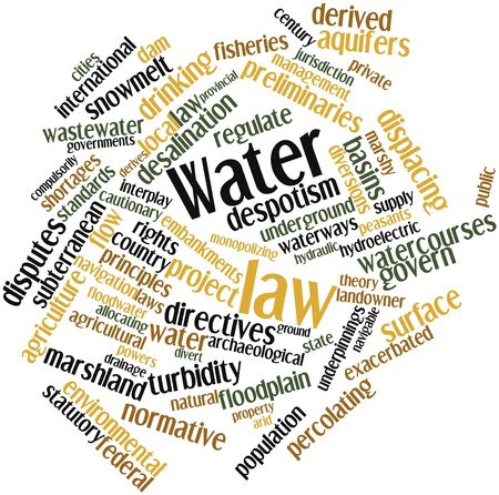 environmental issue: Abstract word cloud for Water law with related tags and terms