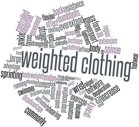 Abstract word cloud for Weighted clothing with related tags and terms Stock Photo - 16773872