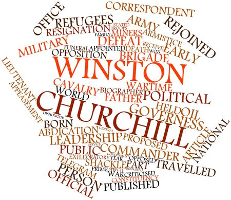 resignation: Abstract word cloud for Winston Churchill with related tags and terms