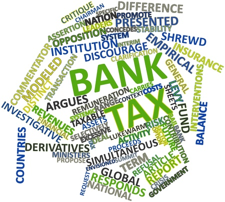 interventions: Abstract word cloud for Bank tax with related tags and terms Stock Photo