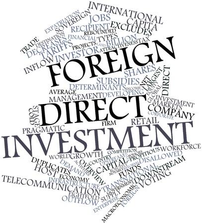excludes: Word cloud astratto per gli investimenti diretti esteri con tag correlati e termini