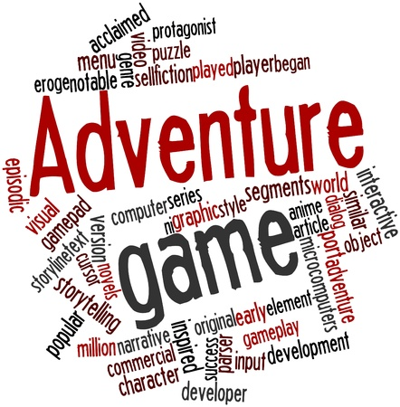 praised: Abstract word cloud for Adventure game with related tags and terms Stock Photo