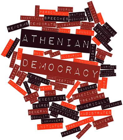 Abstract word cloud for Athenian democracy with related tags and terms Stock Photo