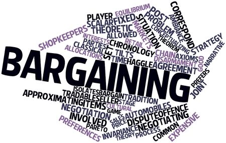 negotiable: Abstract word cloud for Bargaining with related tags and terms