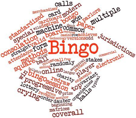 bingo: Nube palabra abstracta para Bingo con etiquetas y términos relacionados Foto de archivo