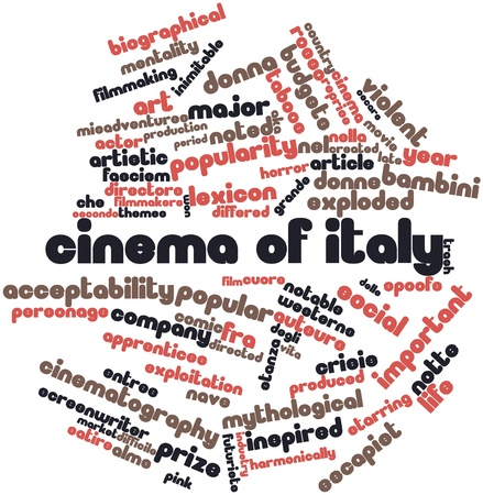 Abstract word cloud for Cinema of Italy with related tags and terms