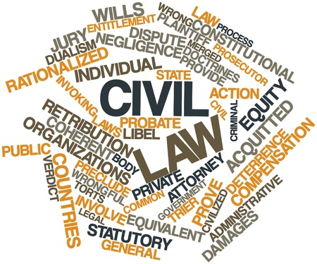 equivalent: Abstract word cloud for Civil law with related tags and terms