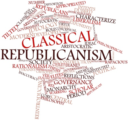 egalitarian: Abstract word cloud for Classical republicanism with related tags and terms Stock Photo