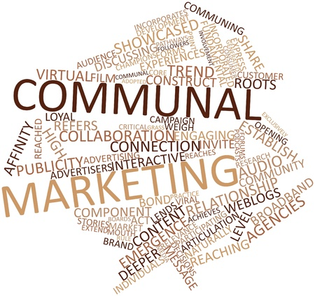 reaches: Abstract word cloud for Communal marketing with related tags and terms