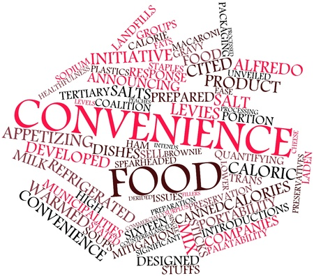 municipalities: Abstract word cloud for Convenience food with related tags and terms