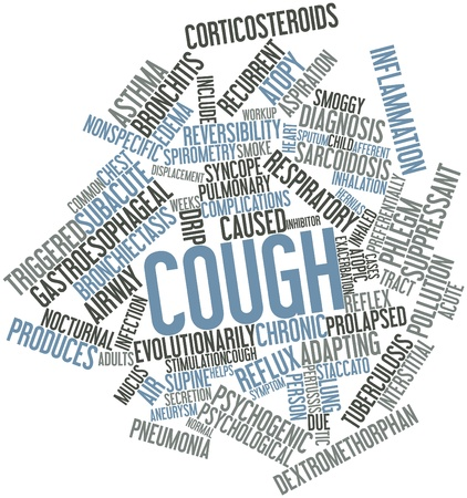 cough: Abstract word cloud for Cough with related tags and terms Stock Photo