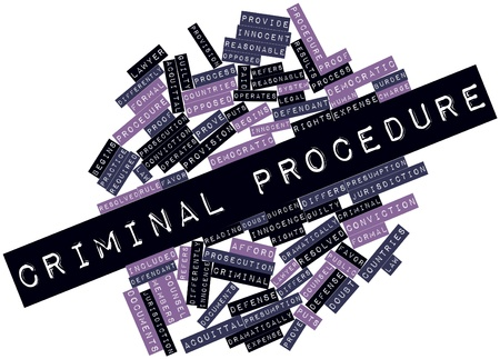 differs: Abstract word cloud for Criminal procedure with related tags and terms Stock Photo