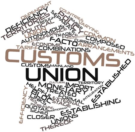 thereof: Abstract word cloud for Customs union with related tags and terms Stock Photo
